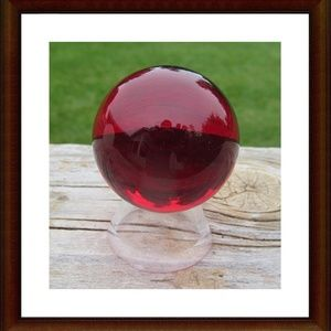 Red Glass Sphere w\Stand